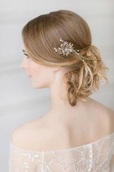 Bridal Hair Chain , Gold Wedding Hair Wrap , Boho Hair Accessory , Vintage Floral Hair Wreath , Opal Golden Shadow Swarovski Hairpiece