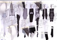 Fashion Sketchbook - fashion illustrations & fabric samples - developing a fashion collection; UNI Source by dress night Fashion Sketchbook, Textiles Sketchbook, Sketchbook Layout, Fashion Illustration Sketches, Illustration Mode, Fashion Sketches, Sketchbook Ideas, Sketchbook Drawings, Fashion Drawings