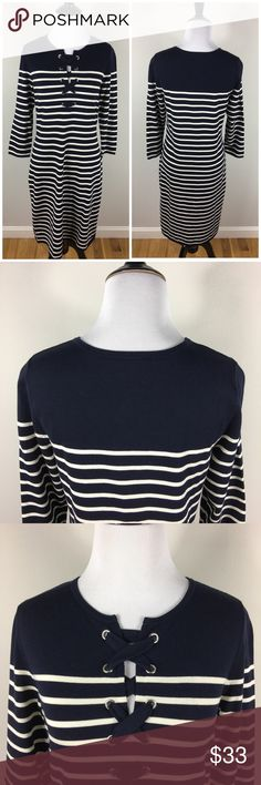 """Talbots Striped Nautical Sweater Dress Navy Blue Talbots Navy Blue and white striped sweater dress. Lace up detail at the bust. Perfect condition.  Size Small Petite  16"""" across at bust 20"""" across at hips  38"""" Long Talbots Dresses"""