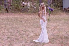 "Bohemian Wedding Dresses Maxi Dress Crochet Lace White Two Piece White Ivory Short Sleeve - ""Jude"""