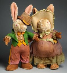 Vintage Bunny Couple. Adorable