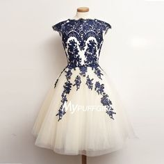 2016 Ivory Tulle Cap Sleeves Homecoming Dress With Navy Blue Lace Appliques