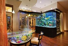 The Florida mansion includes a 2,000-gallon saltwater aquarium above the wet bar.