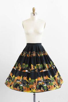 vintage 1950s colonial Boston novelty print circle skirt | #vintage.