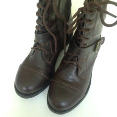 Brown Boots Brown boots with side zipper. Worn a couple of times. Still in great condition. Mid calf. Cute with jeans or a dress/skirt and tights  Mossimo Supply Co Shoes
