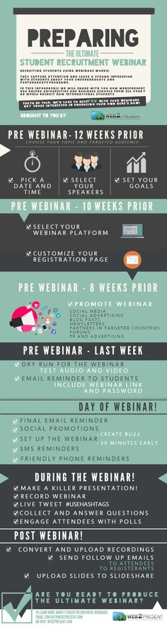 An infographic to help universities and business schools prepare for the ULTIMATE Student recruitment Webinar by Web2Present