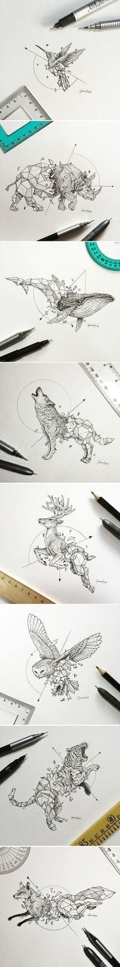 Philippines-based designer Kerby Rosanes has been doing intricate artwork with a simple collection of black pens for years now. One of his more recent projects caught our attention though, and it's because of the way it mixes two different styles so well that it might as well be the peanut butter and jelly of illustration. Take a look!