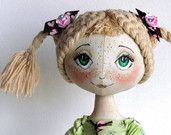 """Textile Art Cloth doll """"Mary"""" Fantasy Bear.  SOLD. Can be repeated."""