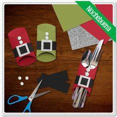Adorna la mesa de Navidad con esta increíble idea para los cubiertos. ¿Qué cenarán el día de hoy? ¿Qué necesitas?Lápiz adhesivo marca Pritt, tubos de cartón, hojas de colores, foamy con diamantina plateada, pompones blancos y tijeras. #Pritt #Pegamento #Manualidades #Navidad #Nochebuena #SantaClaus #Craft #Crafting