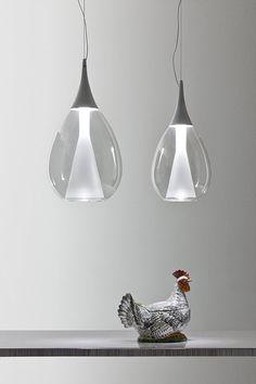 POCHè design Luciano Bertoncini. Suspension lamp providing diffused light, available in two sizes.
