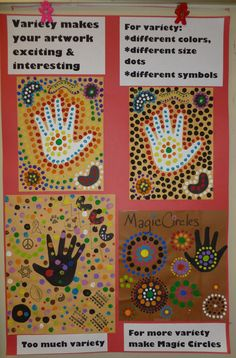 Ms Maggie Mo's Australian Aboriginal hand project: spray hand with thinned white or black tempera, student paints dots with sticks. I showed 1988 Nat Geo Aborigine video of Gagadju Aborigines blowing paint from mouths over hands as part of ritual. Aboriginal Dot Painting, Aboriginal Art For Kids, Aboriginal Education, Aboriginal Culture, Hand Kunst, Kunst Der Aborigines, 3rd Grade Art, Principles Of Art, Thinking Day