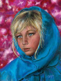 """By Child Prodigy Artist Akiane Kramarik age 8, title """"My Sight Cannot Wait""""   Self Portrait"""