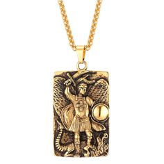 Stainless Steel Big Square Michael Archangel Pendant Necklace Christian Religious Jewelry