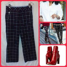 "Tommy Hilfiger Plaid Pants SZ 4 Navy, red and white plaid slightly flared pants with zippered front pocket detail. Cotton fabric is machine washable. Low rise sits slightly below the waist. Flat waist measurement is 15"". Hip is 18.5"". Inseam is 28"". VGUC with no stains or snags. Tommy Hilfiger Pants"