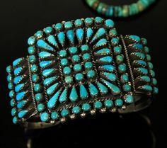 VTG Old Pawn Navajo Snake Eye Needlepoint Turquoise Mens Womens Wide Bracelet