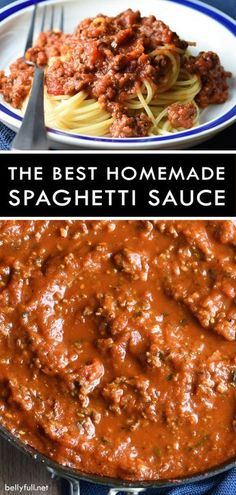 the best spaghetti sauce recipes- This hearty Homemade Spaghetti Sauce, made with sausage, ground beef, and three kinds of tomatoes, is perfect over spaghetti or in lasagna! Spaghetti Sauce Easy, Best Homemade Spaghetti Sauce, Sausage Spaghetti, Spaghetti Sauce Recipes, Spaghetti Sauce Ground Beef, Best Italian Spaghetti Sauce Recipe, Spaghetti Sauce With Mushrooms, Special Spaghetti Recipe, Homemade Sauces For Pasta