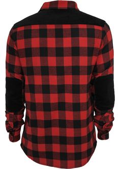 Urban Classics Cord Patched Checked Flanell Men Shirt Black Red 96626 at Hoodboyz
