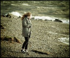 30th January 2014. The girl with the wind-swept hair. Rough weather at Lee on Solent.