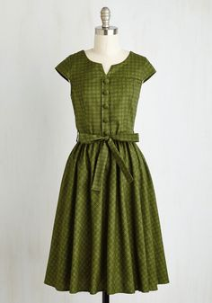 Of Hearth and Home Dress. As the air fills with the scent of fresh-baked bread, you flit around your flat adorned in this vintage-inspired dress. #green #modcloth