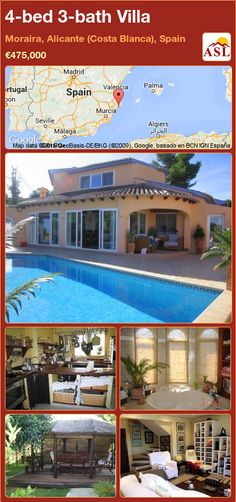 Villa for Sale in Moraira, Alicante (Costa Blanca), Spain with 4 bedrooms, 3 bathrooms - A Spanish Life Alicante, Murcia, Valencia, Double Carport, Flat Tv, Comfortable Living Rooms, Summer Kitchen, Heating And Air Conditioning, Central Heating