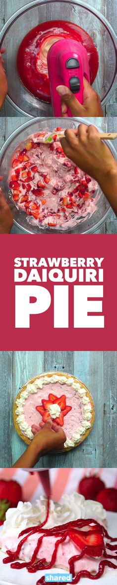 This National Daiquiri Day (July 19th, FYI), whip up this delicious Strawberry Daiquiri Pie that will cool you down in the heat. All it takes is some quick mixing, and you've got a loaded fruity pie that will literally melt in your mouth. Serve this up with a strawberry coulis drizzled on top if you like to really get the berry flavor going. With a whipped, creamy texture and a crumbly pie crust, one bite of this and you'll be hooked!