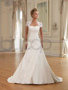 A-line Two-piece Taffeta Side Gathered Bodice Softly Curved Neckline Chapel Length Train Wedding Dresses (MB210262)