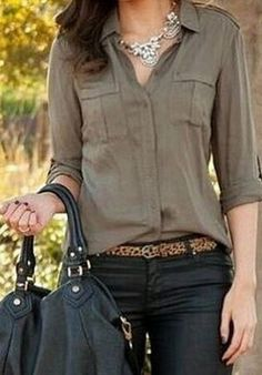Looks I LOVE! Love the Outfit + all the Accessories! Chic and Comfy Khaki Army Green  Long Sleeve Solid Color Women's Shirt #Khaki #Army #Green #Leopard #Belt #Silver #Necklace #Fashion #Jewelry #Outfit #Ideas