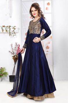 Exclusive designer, Anarkali churidar silk eid plus size suits, Navy Blue embroidered punjabi collection now in shop. Robe Anarkali, Costumes Anarkali, Anarkali Churidar, Silk Anarkali Suits, Lehenga Suit, Party Wear Lehenga, Churidar Suits, Silk Lehenga, Patiala