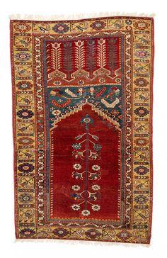 Ladik prayer rug, published Schuermann  Teppiche aus dem Orient 1976 page 73 5ft. 5in. x 3ft. 5in. Turkey 18th century