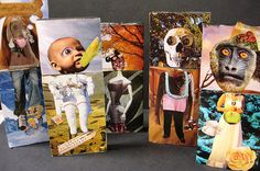 Body Parts: Surrealist Collage (made by middle school kids) taught foreground…