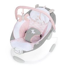 Ingenuity Flora Cradling Bouncer Pink - The Cradling Bouncer from Ingenuity will pamper your little one with premium plush fabrics and support cushions. Calm your baby with 8 melodies and soothing vibrations in this pretty-in-pink unicorn bouncer seat. Baby Swings And Bouncers, Baby Necessities, Baby Head, Baby Grows, Baby Accessories, Baby Items, Baby Car Seats, Baby Bouncer Seat, Baby Dolls