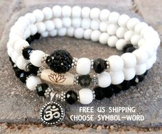 Set of 3 Yoga bracelets, Choose word, Om, Pave bead Whitewood beads, Keep calm, yoga words, Meditation, Reiki Charged, free shipping