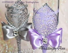 Lavender and Silver Wedding Glasses Purple Wedding by WeddingbyAnn