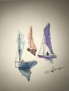 Simple sailboat watercolor painting kunstskitsebog, akvarel illustration, a Watercolor Pencil Art, Watercolor Sketchbook, Watercolor Paintings Abstract, Easy Watercolor, Painting & Drawing, Watercolors, Encaustic Painting, Watercolor Paintings For Beginners, Watercolor Pictures
