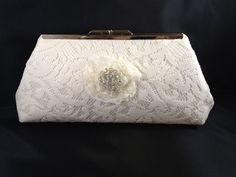 Ivory Lace Bridal Clutch Purse with Nickel/Silver Finish Snap Close Frame on Etsy, $30.00