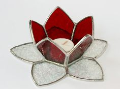 Stained Glass Lotus Candle Holder Red by amberlytecreations