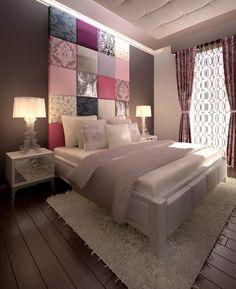 Модная спальня с самодельным настенным декором