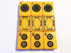 Vintage BAKELITE Mah Jongg Tiles, 1 Dot, 2 Dot, and Soap Dragons.
