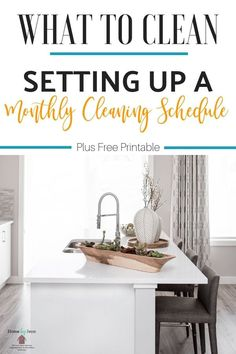 Setting up a monthly cleaning schedule will allow you to know that your whole house is getting clean.  You'll know exactly what to clean each month. #monthlycleaning #cleanhome #cleaningschedule via @homebyjenn Monthly Cleaning Schedule, Clean House Schedule, Daily Cleaning, Deep Cleaning Tips, Car Cleaning, Spring Cleaning, Cleaning Hacks, Cleaning Routines, Cleaning Vinegar
