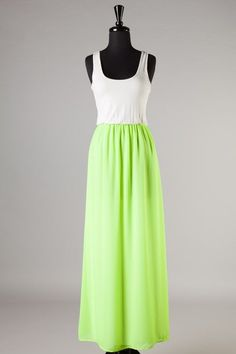 Tall It A Day Beautiful Neon Green Chiffon RacerBack Maxi Dress Reeann116 Medium #Reeann116 #Maxi #SummerBeach