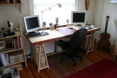 Minimalistic Desk : 5 Steps (with Pictures) - Instructables Build Your Own Computer, Diy Computer Desk, Diy Interior, Interior Design, Ikea Corner Desk, Door Desk, Craft Room Desk, Home Office, Office Desks