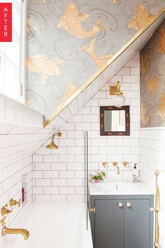 Bathroom Before & After Metro tiles brass taps and Osborne & Little koi carp fish wallpaper in The Pink House bathroom The post Bathroom Before & After appeared first on Architecture Diy. Decoration Inspiration, Bathroom Inspiration, Interior Inspiration, Decor Ideas, Sunday Inspiration, 2017 Inspiration, Design Inspiration, Bathroom Trends, Bathroom Interior
