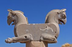 Column capital (the ruins of Persepolis, near Shiraz, Iran)
