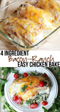 Easy + Delicious = My favorite kind of dinner! Bacon Ranch Chicken Bake recipe perfect for a hectic week night!