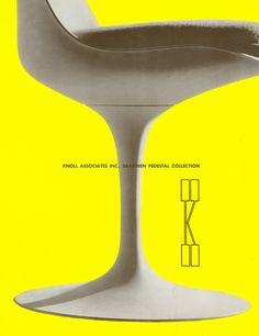 One of many arresting Herbert Matter compositions for Knoll, featuring the unmistakable silhouette of Eero Saarinen's Tulip chair. Eero Saarinen, Rattan, Herbert Matter, Tulip Chair, Furniture Ads, Furniture Design, School Furniture, Vintage Furniture, Futuristic Design