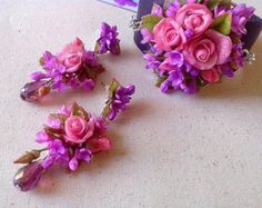 PINK PAPER FLOWERSsmall paper flowerspink by TheJellyJar on Etsy