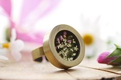 Real flower ring Queen annes lace & heather by RubyRobinBoutique