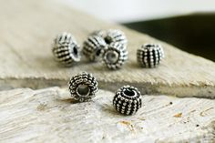 Silver Tone Bali Style Beads 8x6mm Spacer Tube Beads Antique
