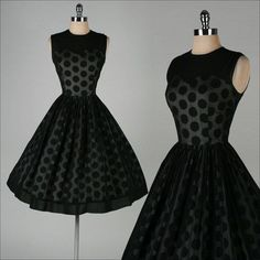 1950's Black Chiffon Polka Dot Dress | vintage 50s dress