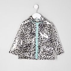 =Doorzichtige plastic stof Polka dot afdrukken Popper knop voorklep zakken Hood Lange mouw Zip - vooraan